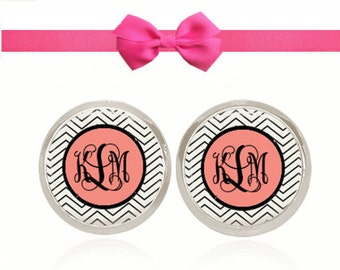 Monogram Earrings, Sorority Gift, Bridesmaid Jewelry, Personalized Earrings, Gift Under 10, Gift For Her (Black On Pink On Skinny Chevron)