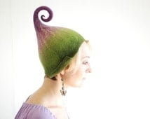 Felted gnome elf fairy hat green purple or any other color MADE TO ORDER