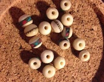 White Yak Bone Bead - 10mm - Turquoise Coral Metal Inlay  YK208 - 8 pieces