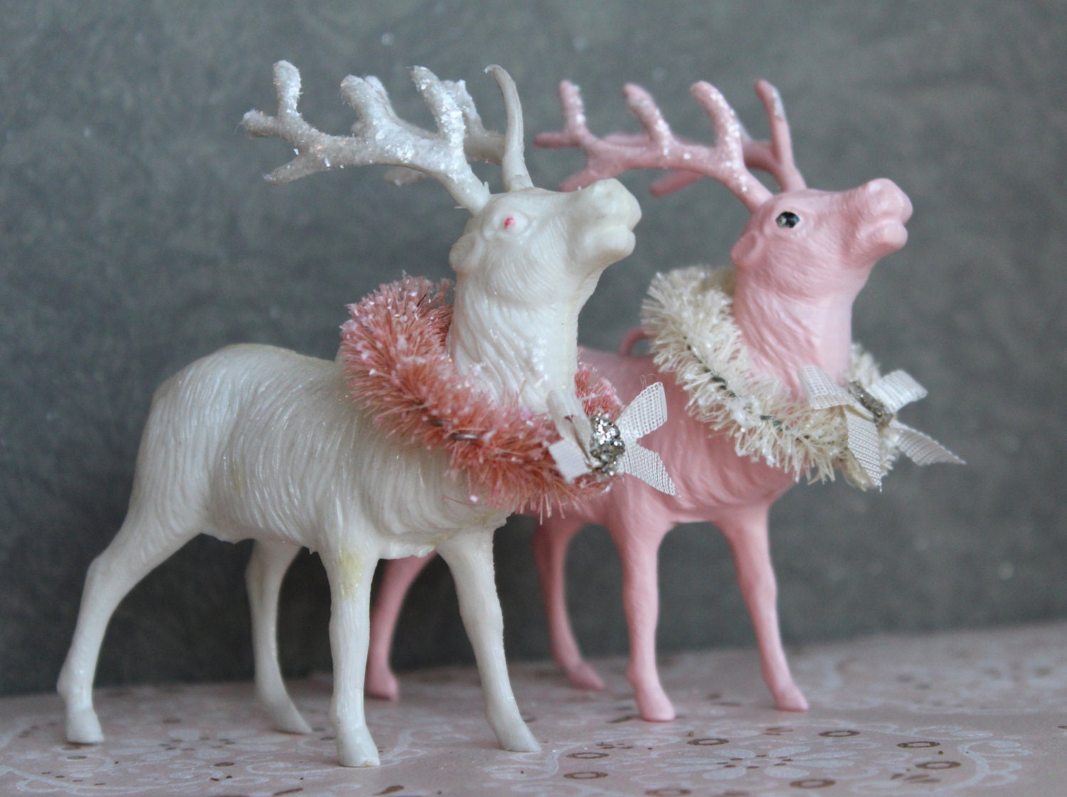2 Pink Holiday Reindeer Decorations with Cream Wreaths - 1950s Retro Vintage Style Deer Ornament