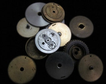 12 Antique Vintage Clock Watch Parts Cogs Gears Assemblage Steampunk Industrial  CG 73