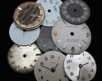 Vintage Antique Watch Dials Steampunk  Faces Parts Altered Art Industrial DF 102