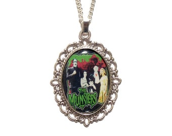 The MUNSTERS family necklace pendant silver vampire horror werewolf gothic goth