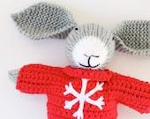 Bernhof a handmade knitted Christmas bunny rabbit soft toy, knit toy, handmade toy, Christmas toys, baby knitting