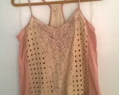 Vintage 1920's style ladies chemise cream lace pink/rose women's medium