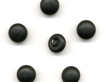 Vintage Matte Black Glass Beads / Buttons 12mm Metal Loops 6 Pcs.