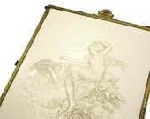 Antique Victorian Travel Mirror - Tri Fold Embossed Celluloid Rococo