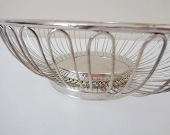 Vintage Mid Century  Silver Plated Wire Basket