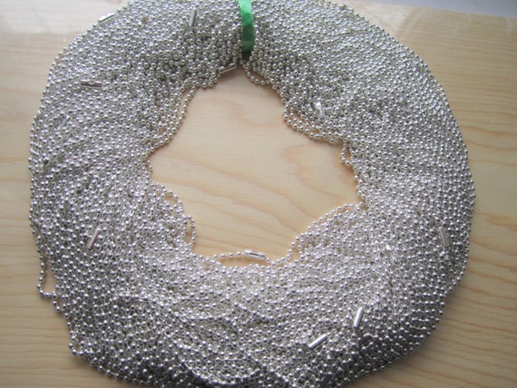25 Shiny Silver Plated Ball Chain Necklaces With Connectors 60 cm  2.4mm (EB 701)