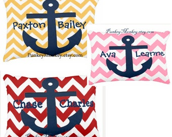 Custom nautical pillow choose your color pink red or yellow chevron with navy anchor personalized
