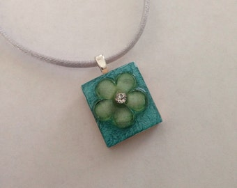 Teal and Green Floral Scrabble Tile Pendant Party Favor