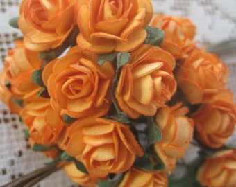 24 Petite Handmade Paper Millinery Roses In Medium Orange