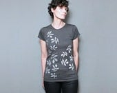 Abstract Leaf Screenprint, Fashion Gray T Shirt  for Women, Gift for Her, Flower Floral Design