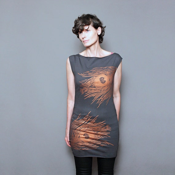 SALE - Tunic Feather Dress - Peacock Dress - Metallic Copper Rust Feather Print - Day to Night