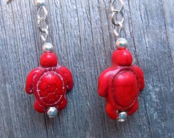 Red Magnesite Turtle Earrings