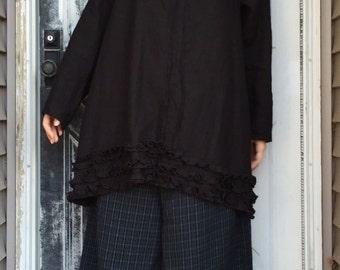 Black Linen Miniruffle Shirt M