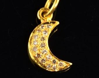 18k Solid Yellow Gold Handmade Champagne Diamond Moon Charm Pendant