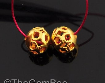 18k Solid Yellow Gold Filigree Ball Spacer Findings Beads PAIR