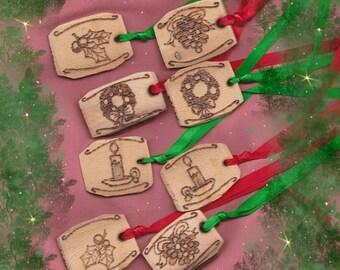 Gift Tags Yule Christmas Solstice Set of Eight Rustic Prim Woodburned