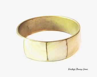 Vintage Bangle Bracelet, Brass / Mother Pearl