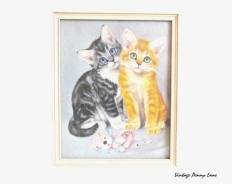 Vintage Cats Print Art, Wood Framed Naughty Kittens by GIRARDO