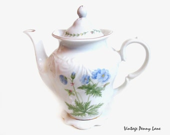 Vintage Imperial Limoges Teapot, Porcelain Tea Pot