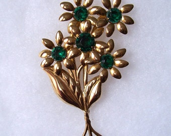 Vintage Gold Tone Green Rhinestone Floral Bouquet  Brooch Fabulous 4 inches