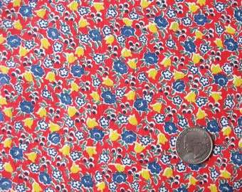 Vintage 1940's Feed Sack Cotton Fabric, Red, Blue, Yellow Flowers, Small Floral Pattern Design