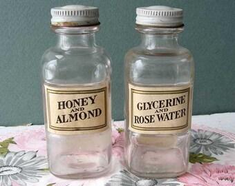 Pair of Vintage 1940's Skin Product Glass Bottles w Paper Label, Carlova, NY, Honey Almond, Rose Water Glycerine, Bath Decor, Beauty Health