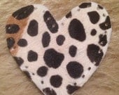 """Leopard Heart Cowhide Leather Patch 3"""""""