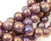 25 Round 8mm Czech Glass Beads - Luster Opaque Bronzed Smoke - 8mm Druks in a Warm Golden Purple Iridescent Finish Plum Purple Beads