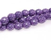 8mm LILAC PURPLE Snake Beads - 19 Pcs - Fire Polish Czech Glass Beads - Soft Medium Lavender Purple - Red-Purple Beads