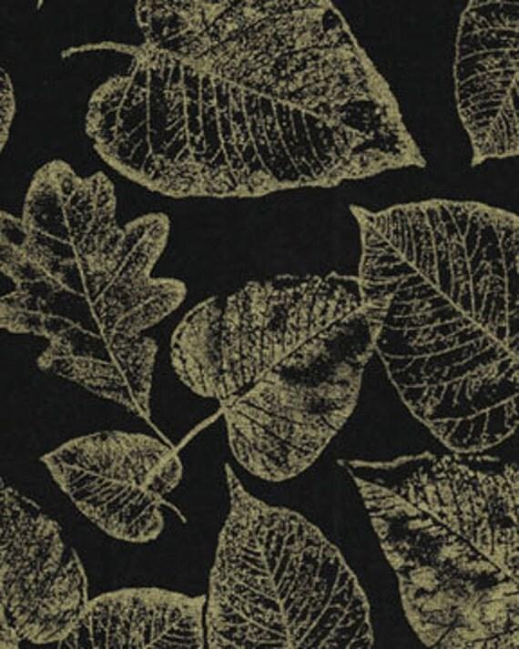 Leaf Black Gold Benartex Fabric 1 yard from ...