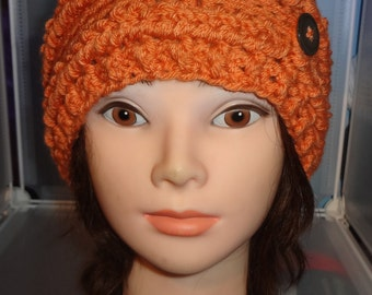 Button Up Beanie, Buttons and Braids, Sock Toboggan, made to order