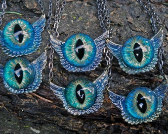 Gothic Steampunk Eye Tiny Wing Blue Green Pendant
