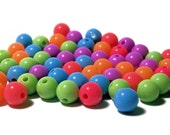 8mm Smooth Round Acrylic Bead Confetti color mix 100pcs