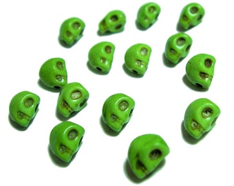 8mm skull beads in Lime Green skulls 15pcs