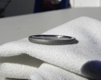 Titanium Ring, Narrow, Domed, Sandblasted Wedding Band
