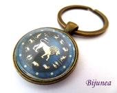 Leo sign of zodiac  keychain - Zodiac keychain - Blue sign zodiac keychain - Leo keychain k241