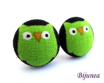 Owl earrings - Green owl earrings - Owl stud earrings - Owl studs - Owl posts - Owl post earrings sf815