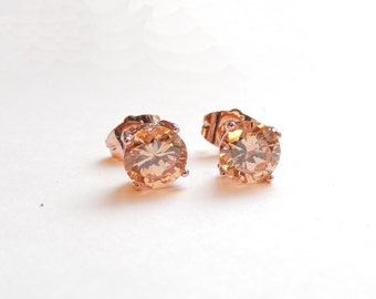 Beautiful handcrafted 18 Kt  ROSE GOLD  and Rose Pink Morganite Solitaire Earring Set--Bridal earring-wedding-birthday-prom-valentine