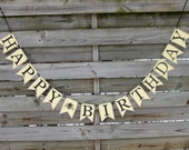 Happy Birthday garland - Honey Bee Birthday Banner in Black, Yellow, and Kraft Brown - Birthday Party Decoration
