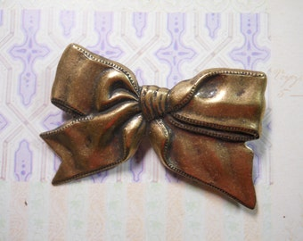 Large Metal Brass Bow Hair Barrette Ribbon Hair Tie Statement Accessory