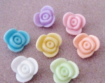 SALE Pastel Spring  Colors Acrylic Lucite Rose Flower Beads Buttons 16mm 829