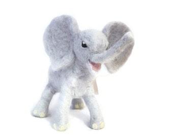 Cute pose-able Needle felted Elephant ornament - plushie soft sculpture - elephant sculpture