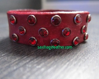 Red Leather Red Crystal Rivet Wristband - Distressed