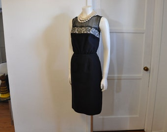 50s dress / The LBD Vintage 1950's Lack Cocktail  Dress