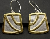 NEW DESIGN Brushed Silver and 22k Gold and  Altered Square Dangle Earrings