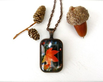Fall Maple Leaf Photography Necklace Glass Photo Copper Pendant - Fiery Maple