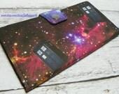 Handmade dr who Long Wallet  BiFold Clutch -Vegan Wallet -  Tardis in Space # 1